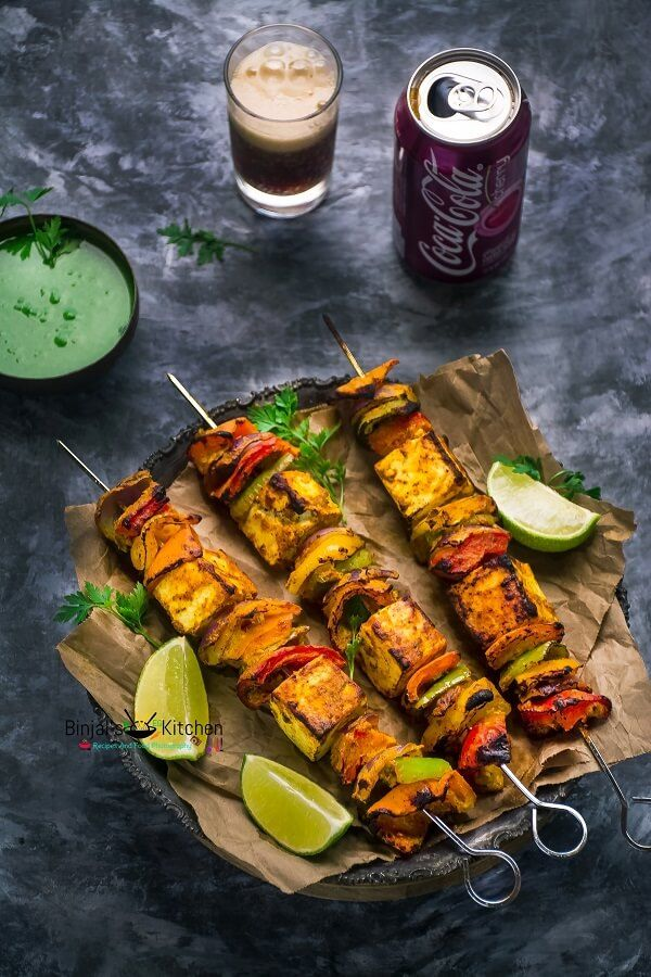 Paneer Tikka is an alternative to chicken tikka for vegetarians. Paneer Tikka is one of the popular Indian dish. Paneer Tikka is made from chunks of paneer.