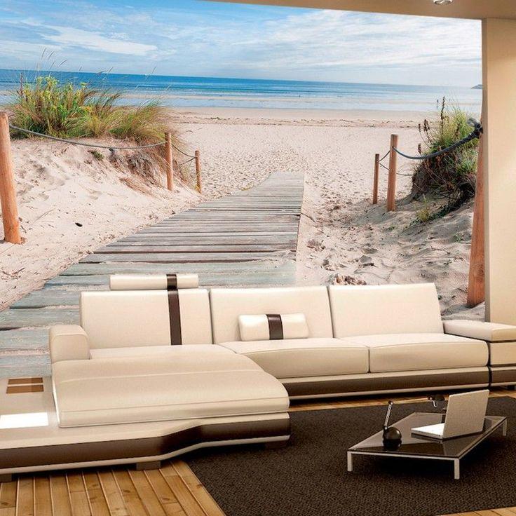 Designes Fototapete Strand Gras_Designe Strand Tapete Meer Dünen Gras Sand Weg Wolken