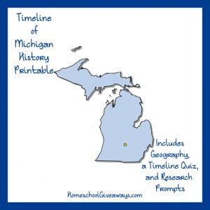 """FREE Timeline Worksheet: January 26, 1837, Michigan Becomes a State. What state do Ben Carson, Larry Page, and Charles Lindbergh all claim as their birthplace? Discover the answer and more fun history facts as you build a timeline of Michigan state history. Bonus research prompts are also included. See what you can learn about the """"Arsenal of Democracy,"""" and how and why Daniel Boone was brought to Detroit!  - WriteBonnieRose.com"""