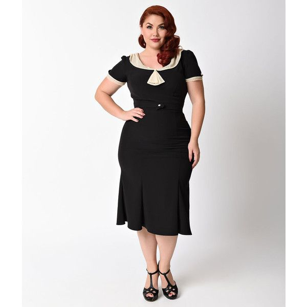 Exclusive Stop Staring! Plus Size 1930s Black & Tan Lace Cap Sleeve... (145 CAD) ❤ liked on Polyvore featuring plus size women's fashion, plus size clothing, plus size dresses, black, cap sleeve cocktail dress, plus size evening dresses, cocktail dresses, plus size holiday dresses and plus size lace dress