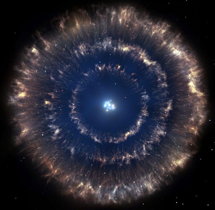 Individuate per la prima volta tre bolle di supernova una dentro l'altra ➡ http://www.coelum.com/?p=60272  L'immagine è solo un'impressione artistica, ma la scoperta di una tripletta di resti di supernova è sorprendente e preziosa per lo studio dei processi di formazione stellare. Crediti: Gabriel Pérez/SMM (IAC)
