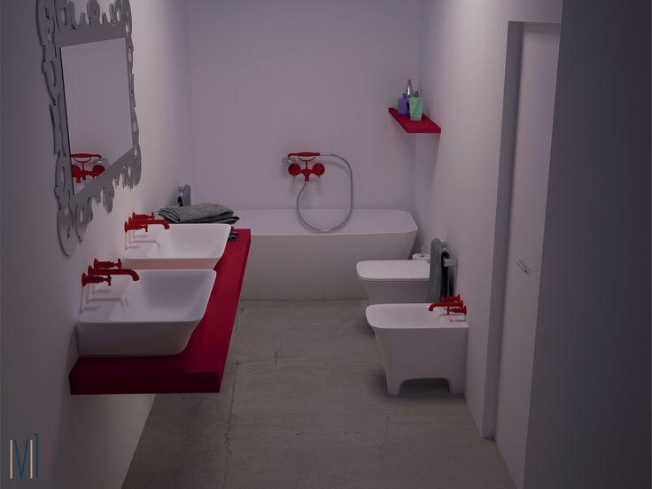 Bathroom love!!Red passion #13seven #interiordesign #homedesign #arredamentointerni #interiordecoration #furniture #homedecoration #bathroom #lovebath #bathroomdesign #bagno #colorbath #redpassion #redbathroom #bagnorosso
