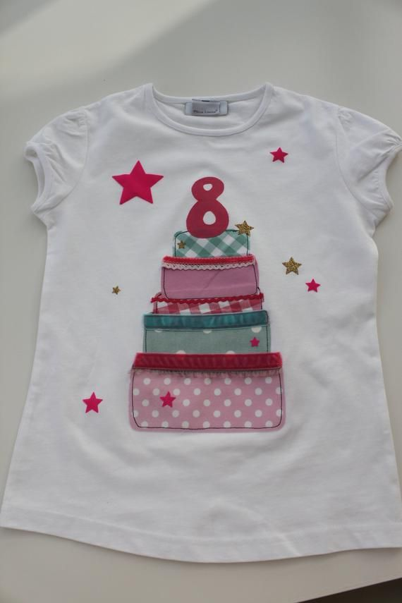 Birthday shirt, kids shirt girl, birthday cake, birthday cakes, T-shirt, shirt, with name, with number, birthday, by MillaLouise