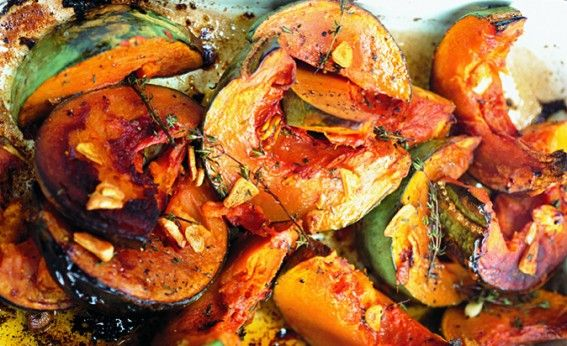 Roast squash garlic and thyme . Diana Henry.