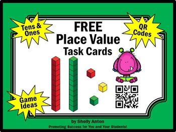 Place Value QR Codes 1st Grade Worksheets Task Cards Print