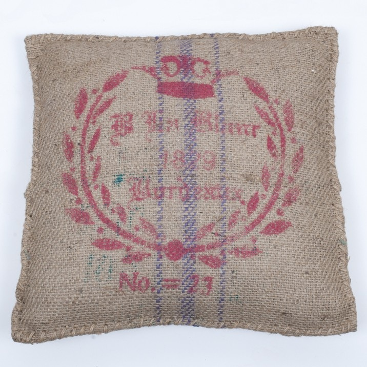 "Bordeaux ""Vigoureux"" Cushion - These bucolic hessian cushion are raw uncontrived and highly collectable.  A great decorative piece to personalise your homes outdoor area apartments and warehouse conversions."
