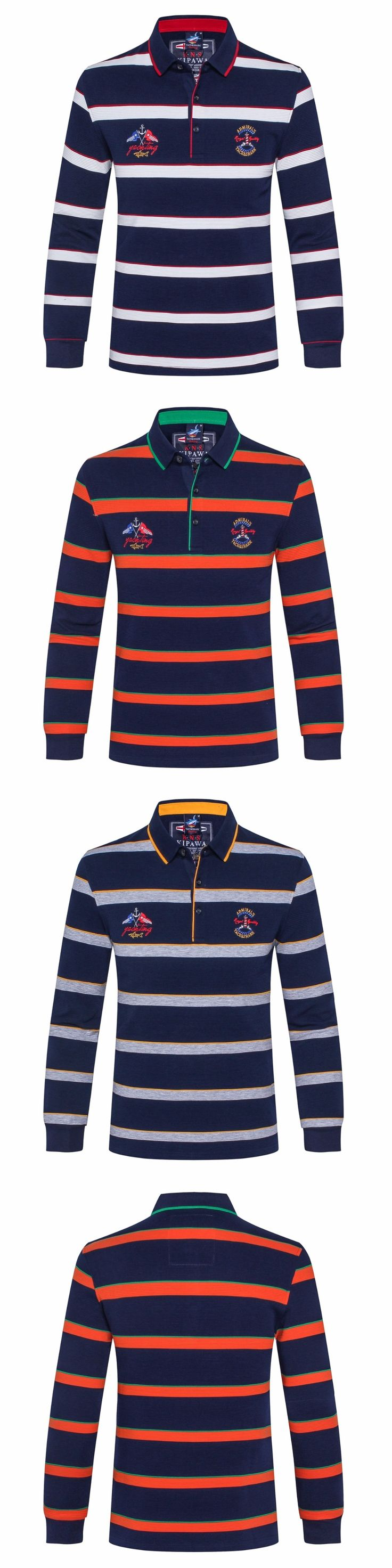 2017 new Europe Size New Brand Men's Solid Long Sleeve Polo Shirt Men's Polo shirts Lapel stripe embroidery billionaire