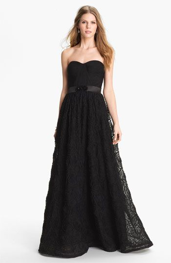 1950s Prom Dresses, Adrianna Papell Pleat Bodice Rosette Ballgown #1950s #vintageinspired