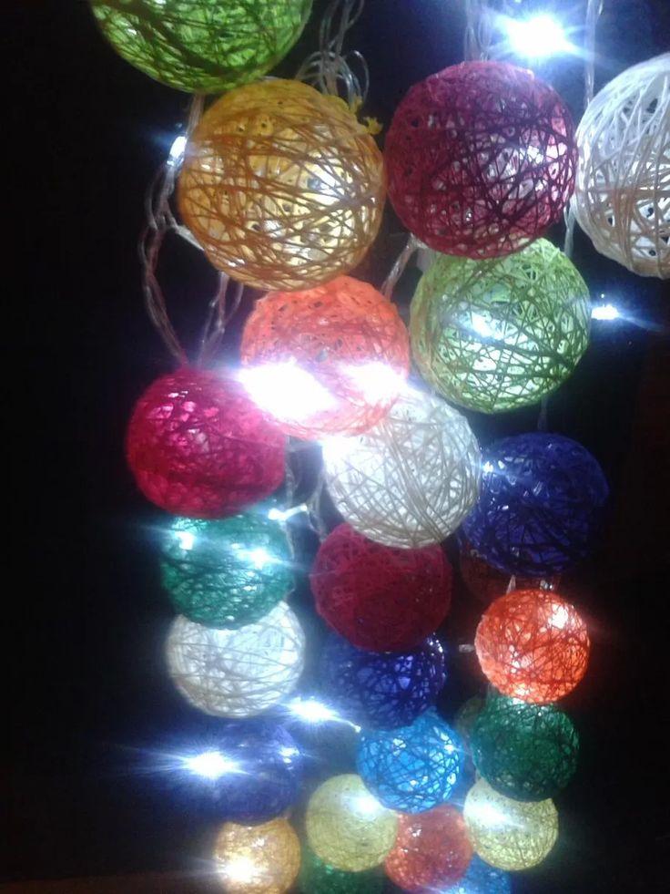 Esferas de hilo facilisimocom laras con hilo de yute - Bolas navidad gigantes ...