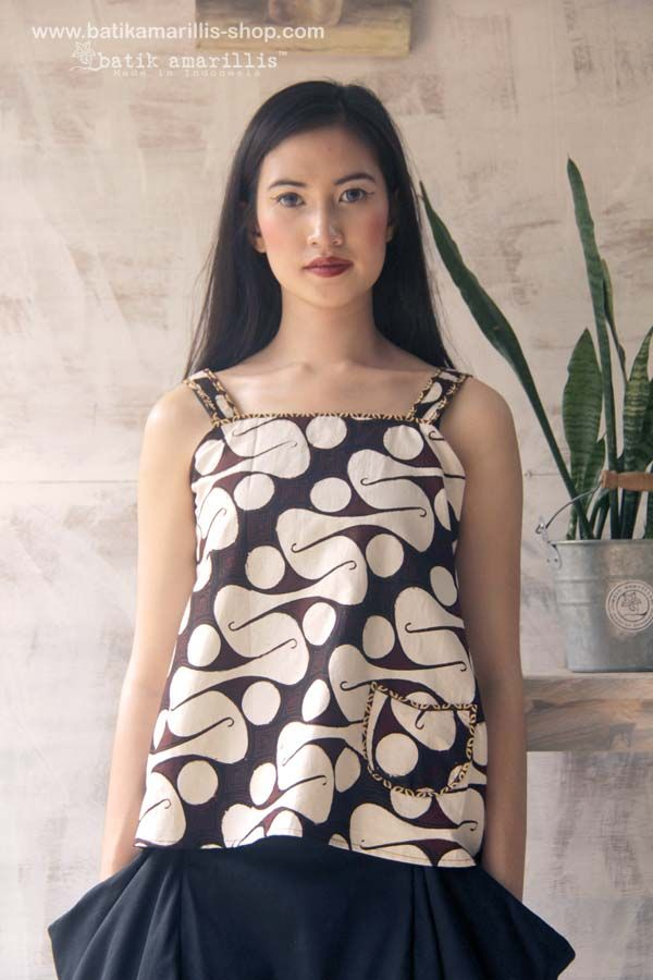 batik amarillis's classic o camisol mio Available at Batik Amarillis webstore www.batikamarillis-shop.com such a classic top and beautiful in simplicity, made with batik sogan Banyumas accented with piping and cute pocket , this also perfect to layer with any other outfits