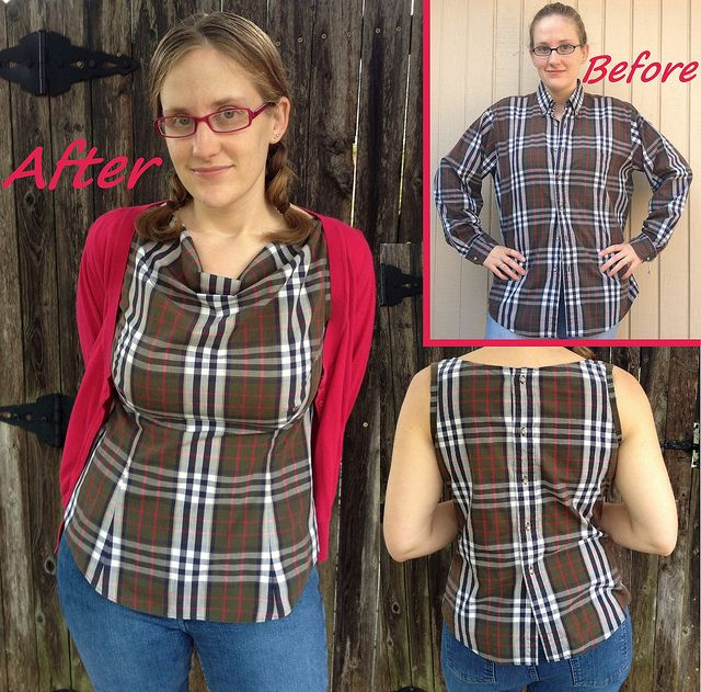 Serger Pepper Refashion a Button Up RoundUp Neckline