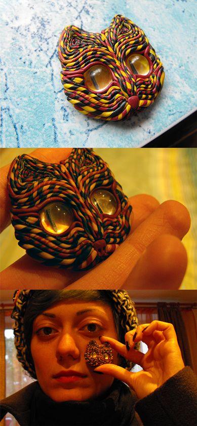 cat head polymer clay