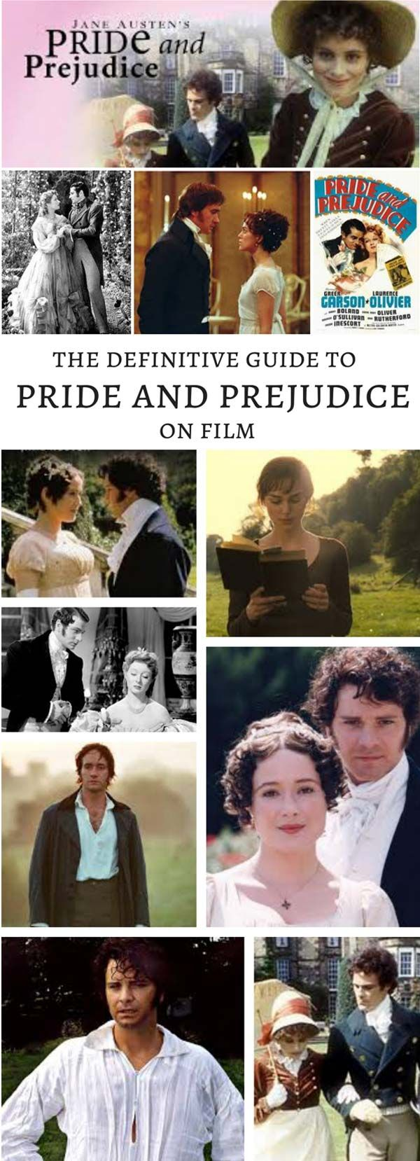 The Definitive Guide to Pride and Prejudice on Film. Did you know there are FOUR different movie adaptations of Jane Austen's Pride and Prejudice? This is a fun look at the pros and cons of each version. #janeausten