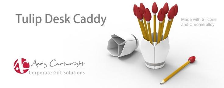 Tulip Desk Caddy.  Silicone and Chrome Alloy.