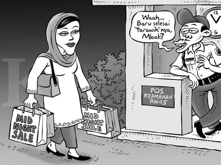 Kartun Benny, Kontan, Juli 2014: Abis Taraweh, Langsung Midnight Sale