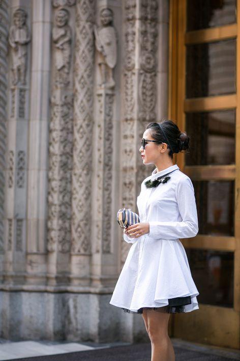 Fancy Shirtdress :: Textured flare dress