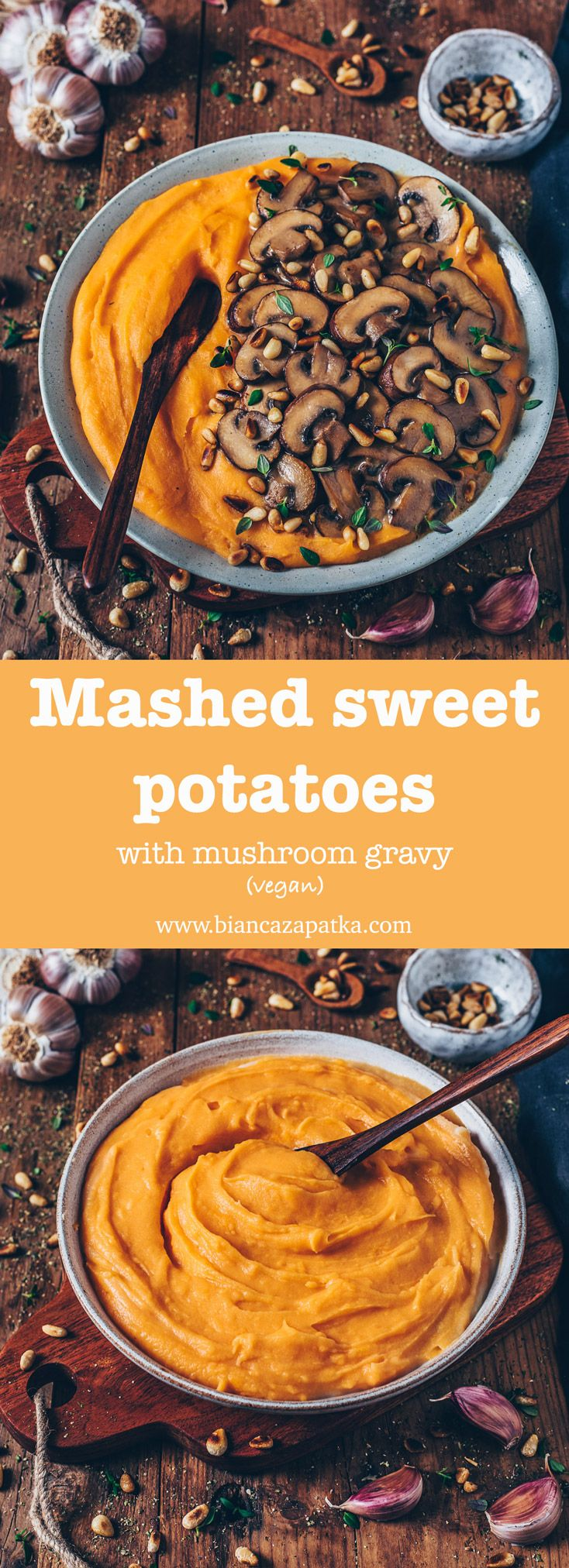 Mashed Sweet Potatoes with Mushroom Gravy (vegan)