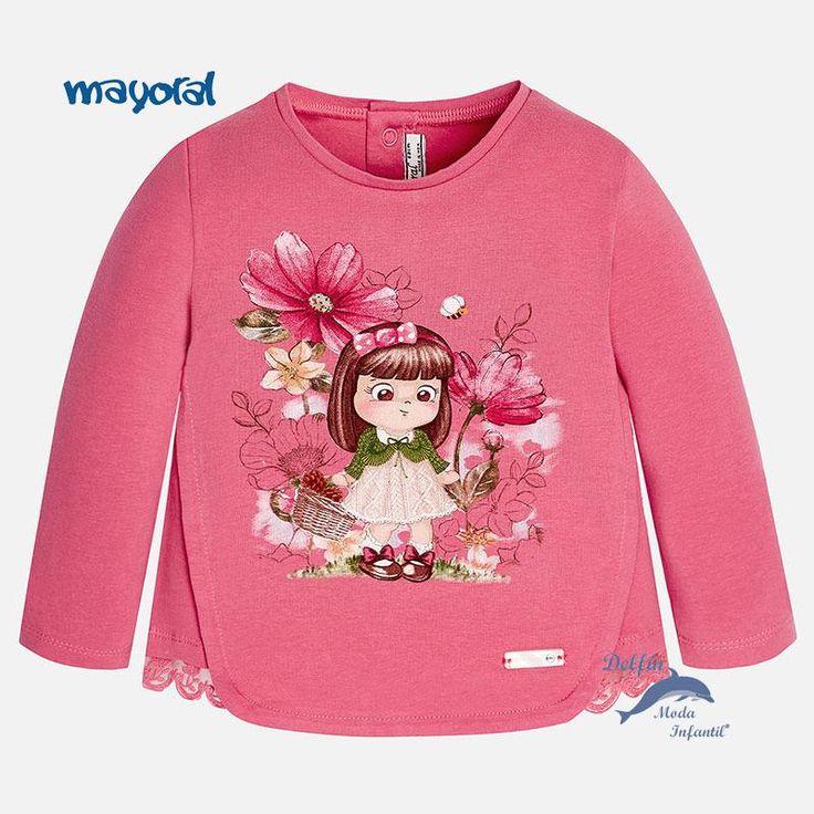 """Camiseta de niña bebe MAYORAL de manga larga """"niña con cesta"""""""