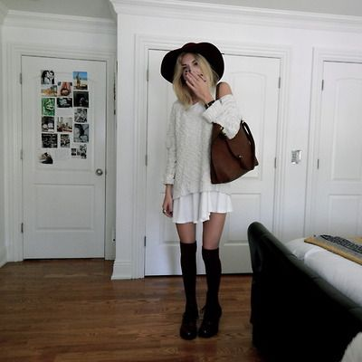 christies closet: white dress, cream jumper.