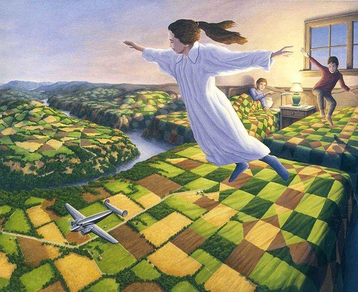 Les magnifiques peintures surréalistes de l'artiste canadien Robert Gonsalves, qui nous entraine dans un univers doux etpoétique peuplé d'illusions d'optiq