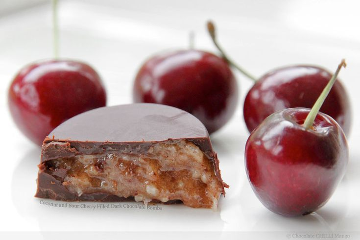 Coconut and Sour Cherry Filled Dark Chocolate Bombs