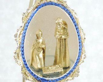 Miniatur Krippe Szene Weihnachtsbaum Ornament verzierte Türkei Ei