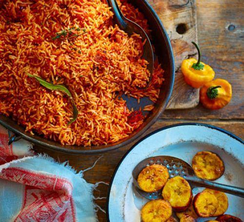 Smoky spiced Jollof rice & coconut-fried plantain