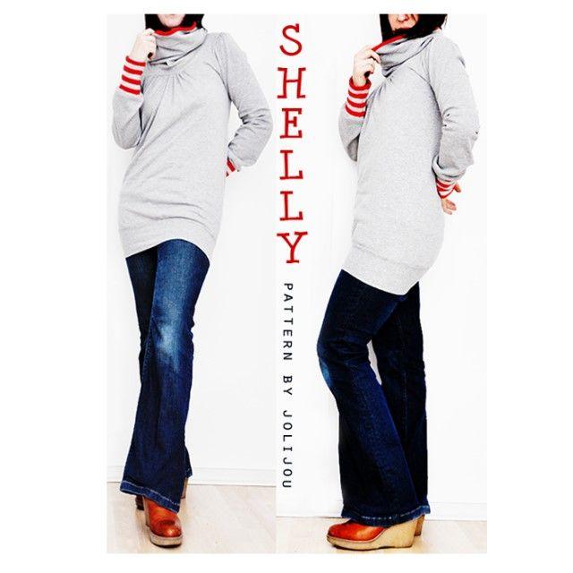 Shelly Shirt oder Sweater nähen SHELLY von Jolijou – das luftige Top oder der kuschelige Sweater für kältere Frühlings- und Herbsttage. Das Shirt fällt figurschmeichelnd und kaschiert dank des gekräuselten Brustbereichs...