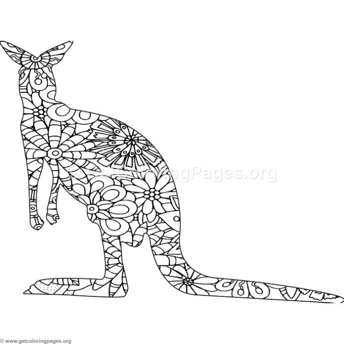 Free Instant Download Zentangle Kangaroo Coloring Pages Coloring