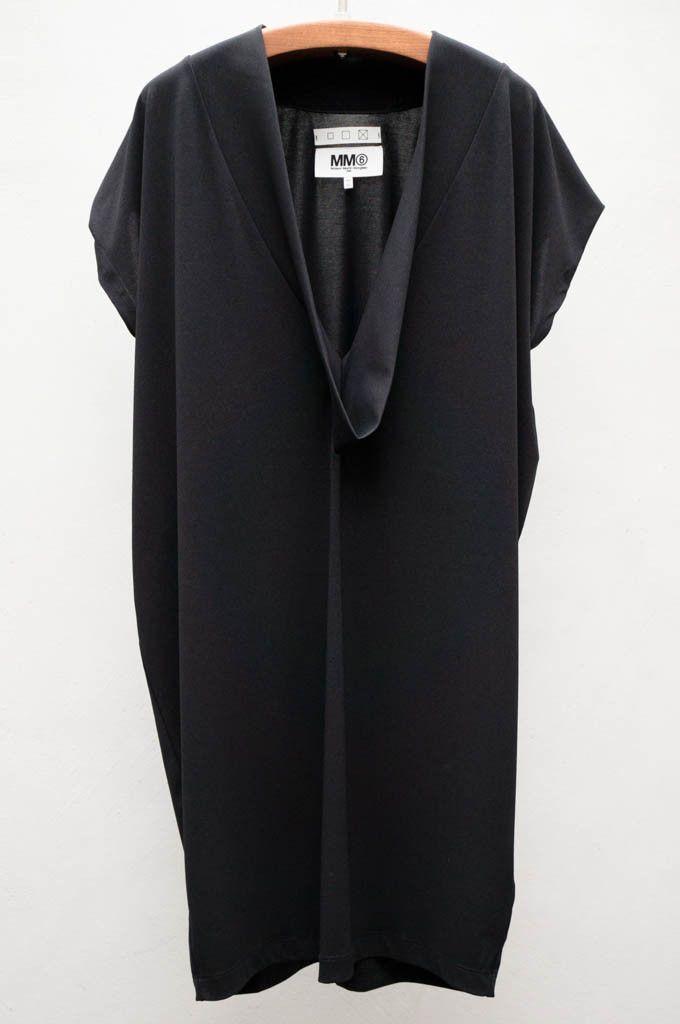 MM6 Off Black Deep V Cocoon Dress