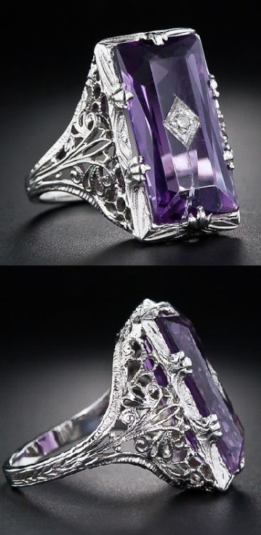 Art Deco amethyst and diamond filigree ring. Via... | Diamonds in the Library