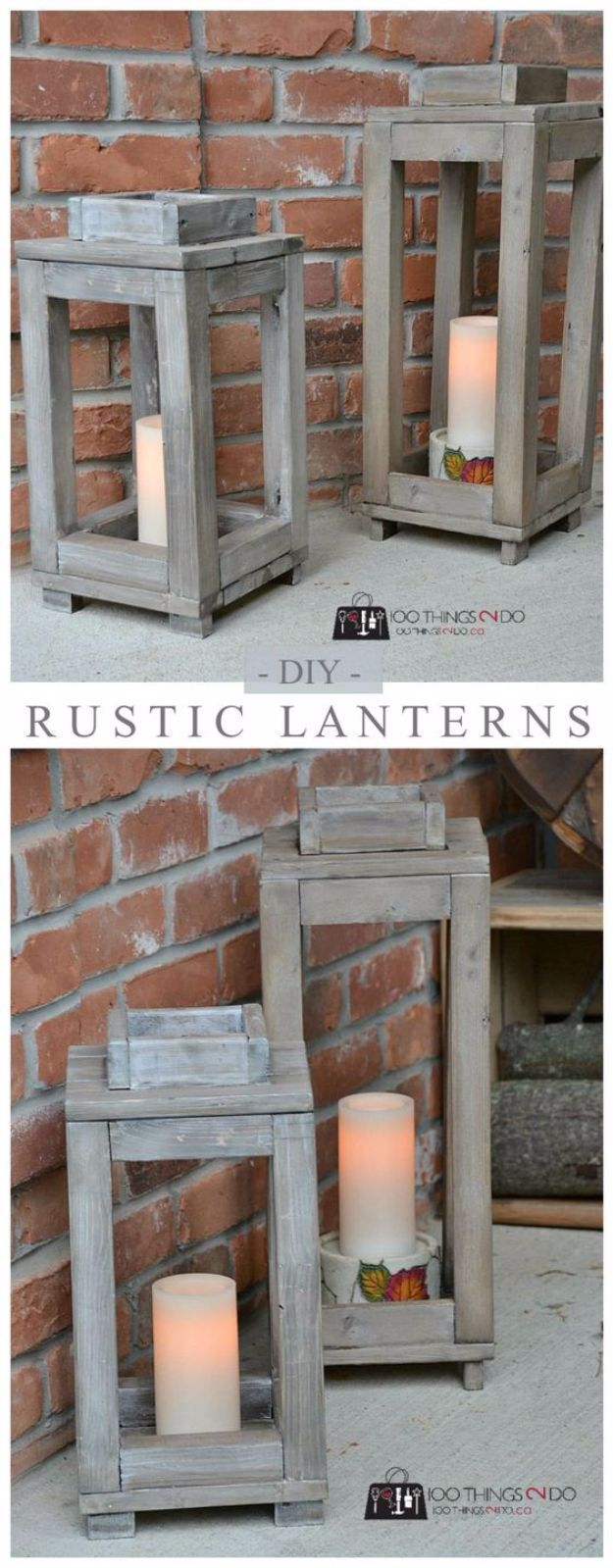 Best Country Decor Ideas for Your Porch - DIY Wood Lanterns - Rustic Farmhouse Decor Tutorials and Easy Vintage Shabby Chic Home Decor for Kitchen, Living Room and Bathroom - Creative Country Crafts, Furniture, Patio Decor and Rustic Wall Art and Accessories to Make and Sell http://diyjoy.com/country-decor-ideas-porchs #homedecoraccessories