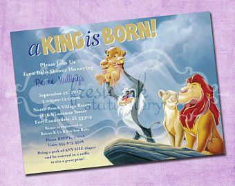 Lion King Baby Shower Invitation Jungle Invitation Disney