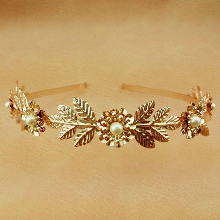Gold Leaf Headband Women Prom Hair Jewelry