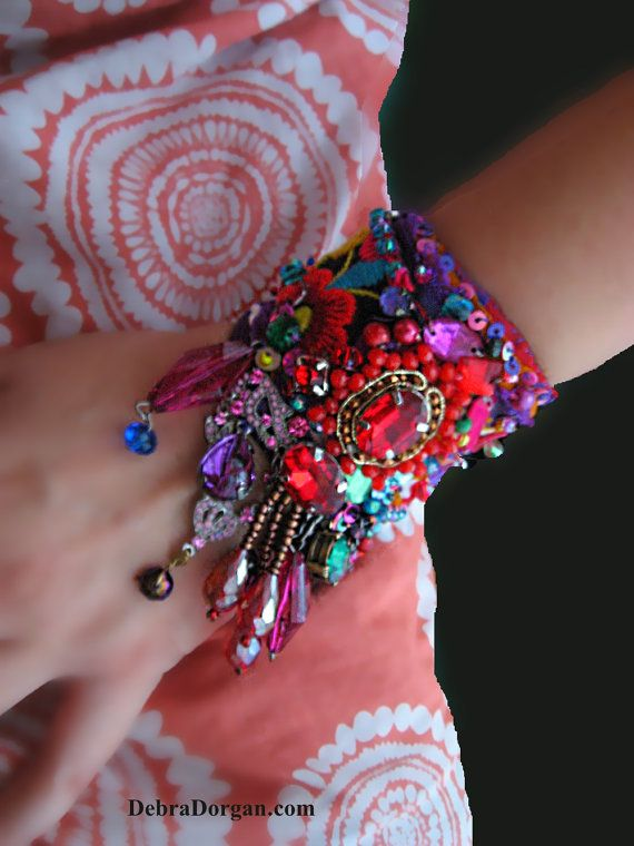 Rainbow Dance Bracelet, Vintage Embroidery, Beaded, Colourful, Red, Purple, Black, Boho, Gypsy, Sparkle