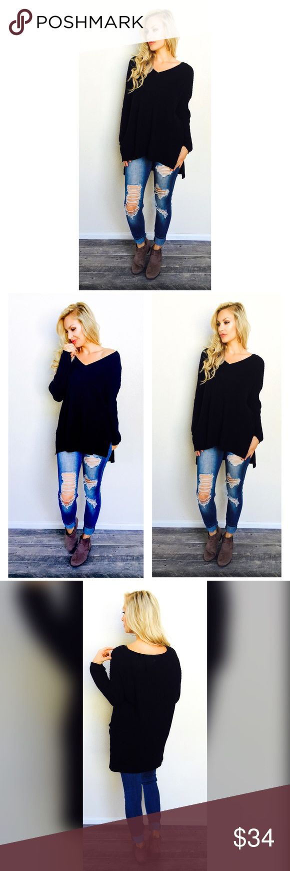 Your Favorite Knit Sweater (1-S,2-M,1-L left) The MOST coziest, cute, soft, sweater you will own!! You will Love this sweater! Another Personal Fav  High low style, with a v-neckline. Runs a little big. For reference I'm modeling a size Medium @5'9 34/26/34. Also available in Burgundy. Bohemian Sea Sweaters V-Necks