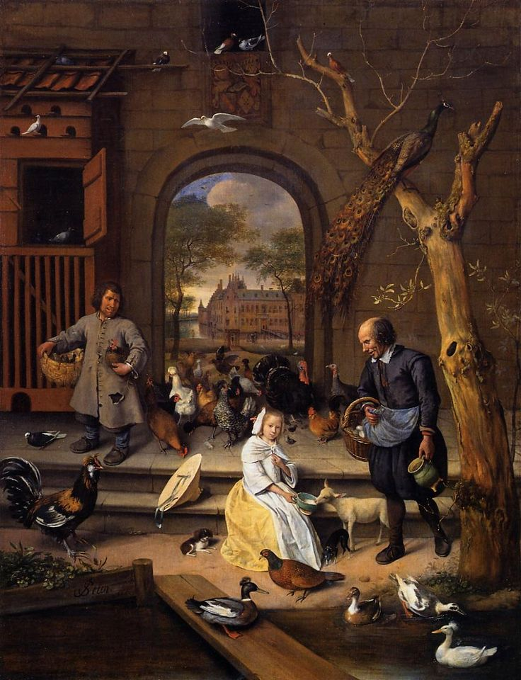 "STEEN Jan - Dutch (Leiden, 1625/1626 – 1679) ~  1660  ""The Poultry Yard"""