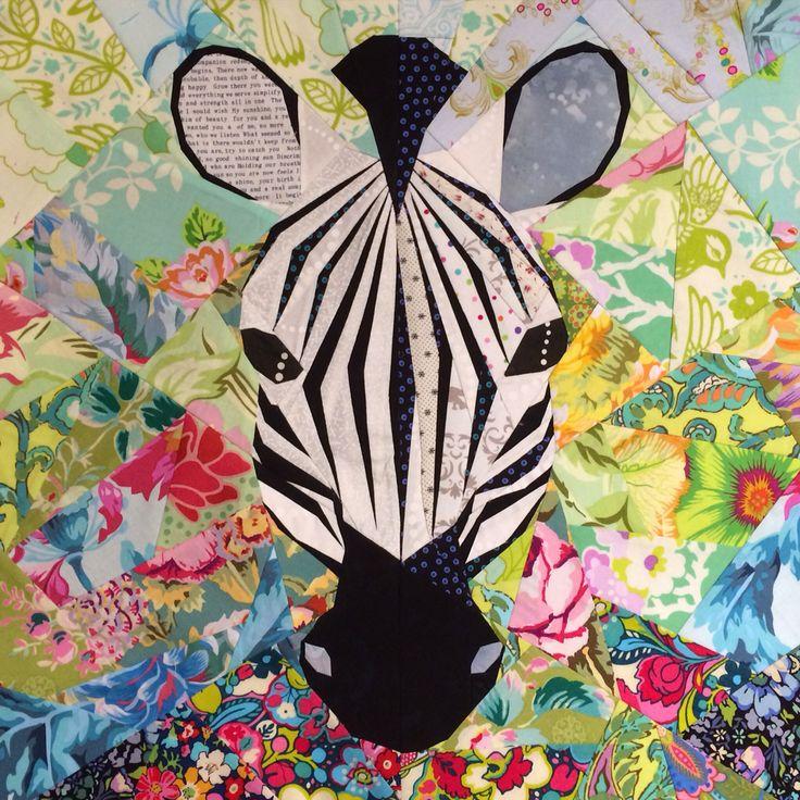 Zebra foundation pieced, pattern by Juliet of The Tartan Kiwi; sewn by Kirsten Duncan