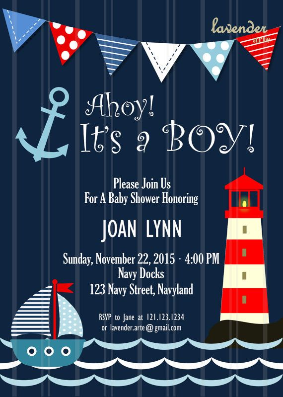 Navy Nautical Baby Shower Invitation Ahoy It's A by LavenderArte