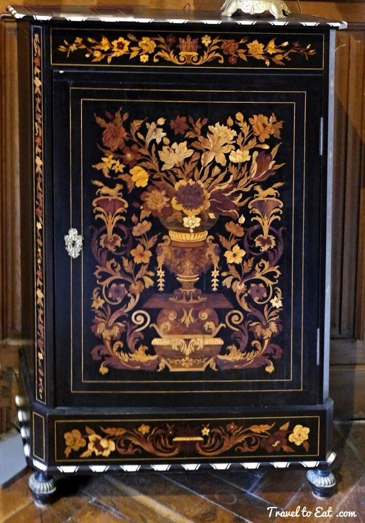 Italian Inlaid Cabinet. Château D'Azay Le Rideau. Loire Valley, France