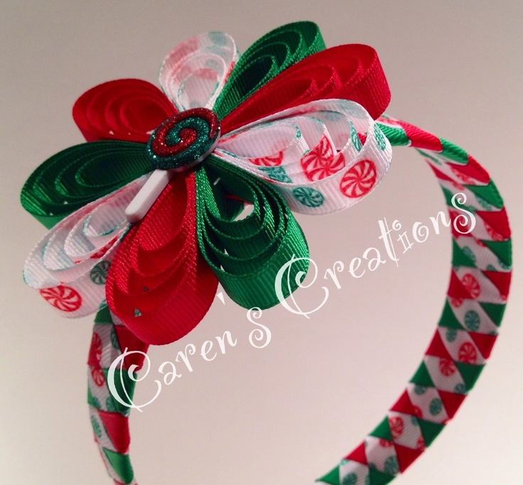 Christmas candy loopy flower and ribbon woven headband