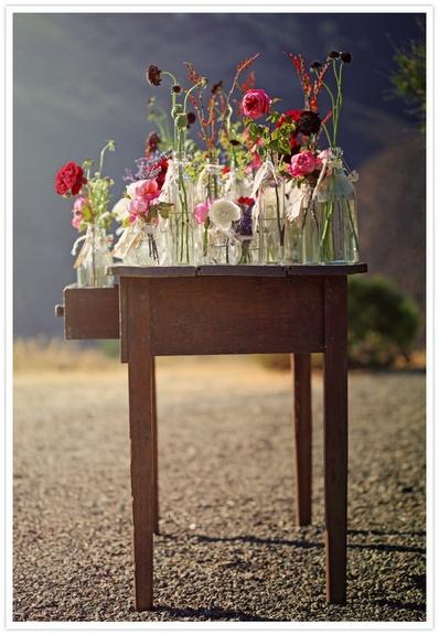 Vintage love!  Collection of vases for the oak barrels