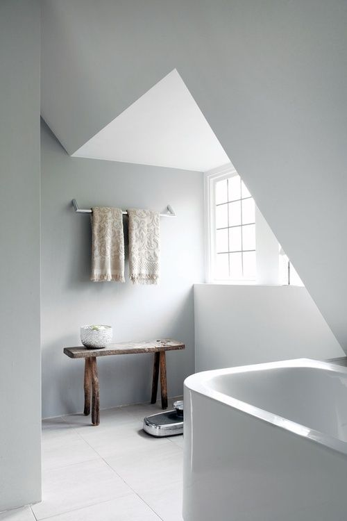 minimal attic bathroom (via blissfulb)