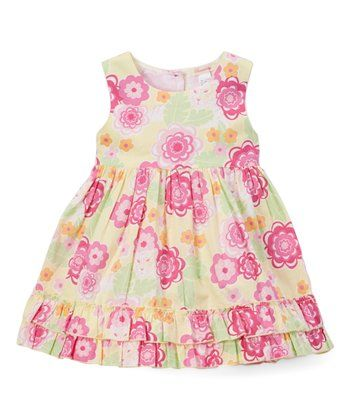 Yellow Floral Belted A-Line Dress - Toddler & Girls