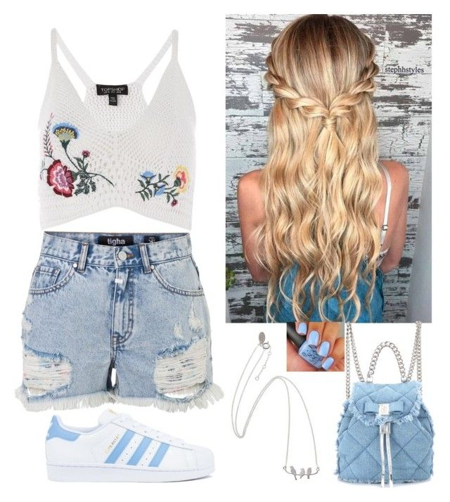 """Summer day"" by paoladouka on Polyvore featuring Topshop, adidas and Salvatore Ferragamo"
