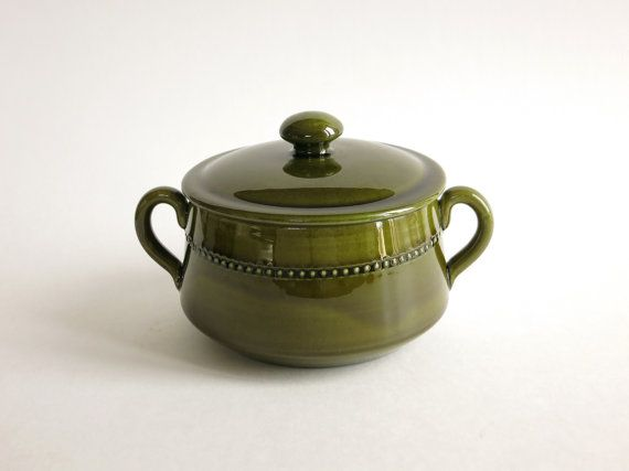 Vintage Hoganas Keramik Covered Soup Bowl - Old Höganäs Green Soup Tureen - 1960s Sweden Design - Scandinavian Mid Century - Five Available