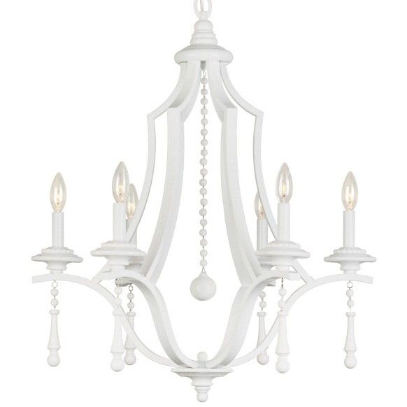 Contemporary Chandelier With Wet White Finish And Accents Available In Small 3 Light
