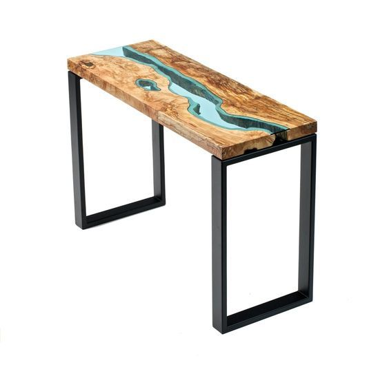 """richly-colored spalted maple slabs modern black steel legs hand-cut blue glass silky smooth finish49"""" x 18"""" x 32""""*available in custom sizes*:"""