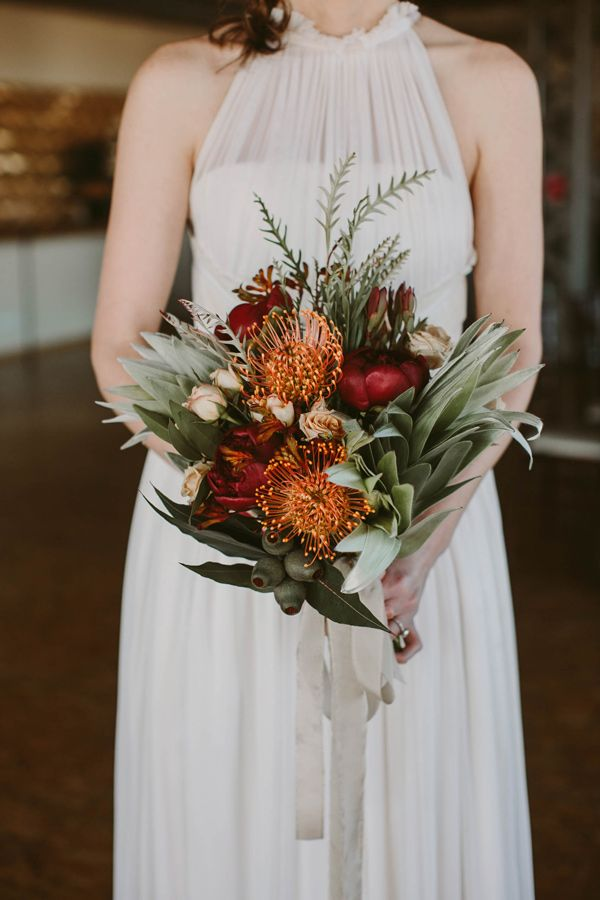 tropical bouquet - photo by Megan Saul Photography http://ruffledblog.com/modern-safari-wedding-inspiration #weddingbouquet #bouquets