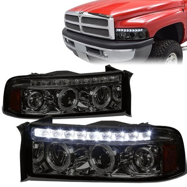 94 02 Dodge Ram 1500 2500 3500 Led Drl Halo Ring Projector Headlights Smoked Projector Headlights Headlights Dodge Ram